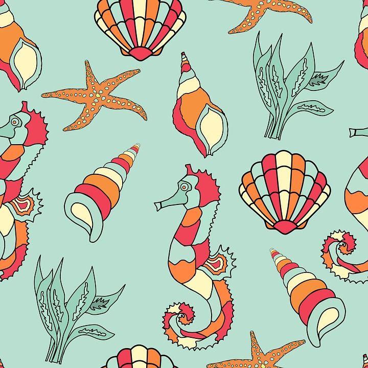 해 마, 조개, 불가사리, 셸, 바다 포탄, 벽지, 종이, 배경, 아트, 패턴, 디자인, 스크랩북