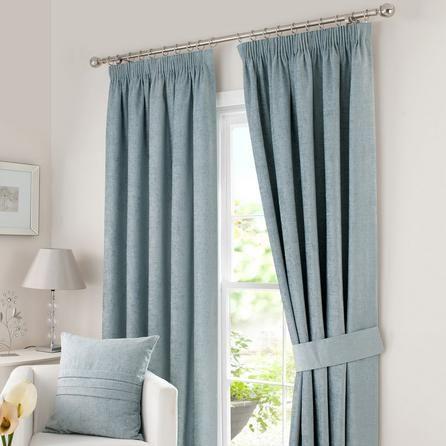 Dunelm Chenille Duck Egg Blue Polyester Pencil Pleat Curtains (W 168cm (66'') x Drop 274cm (108''))