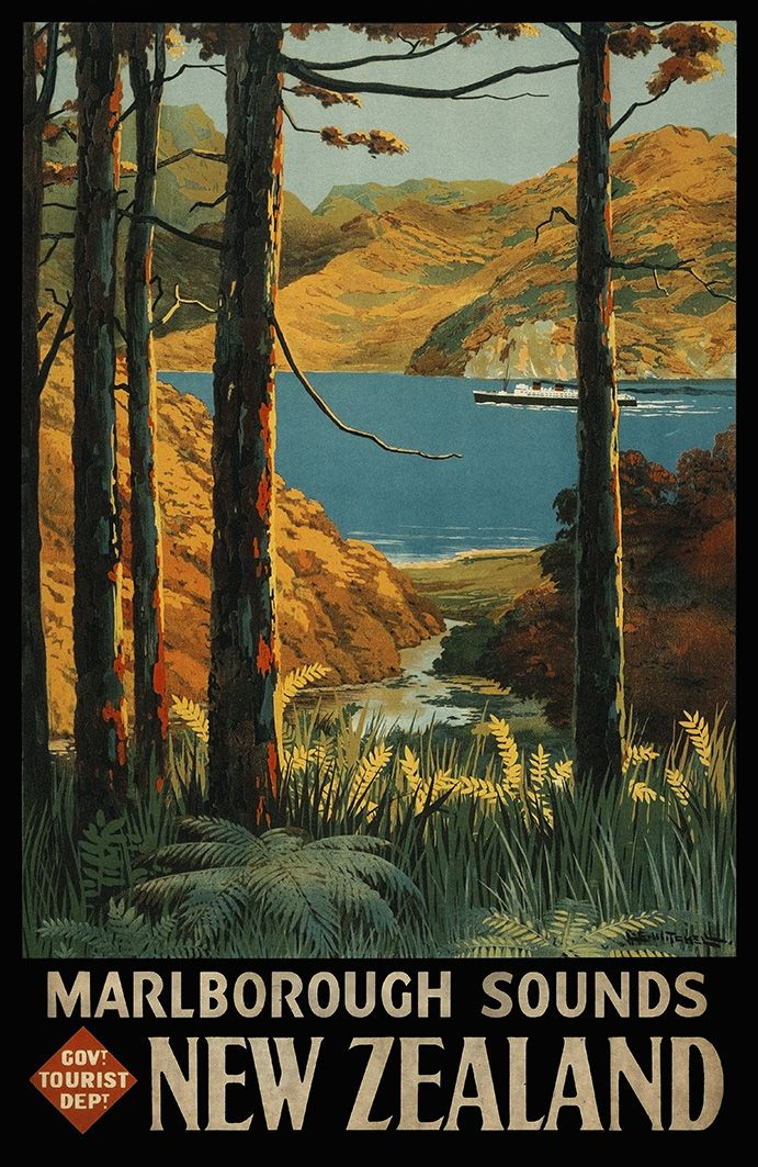 Marlborough Sounds, New Zealand - New Zealannd Govt. Tourist Department promotional poster. Reproduction art-prints available from www.imagevault.co.nz