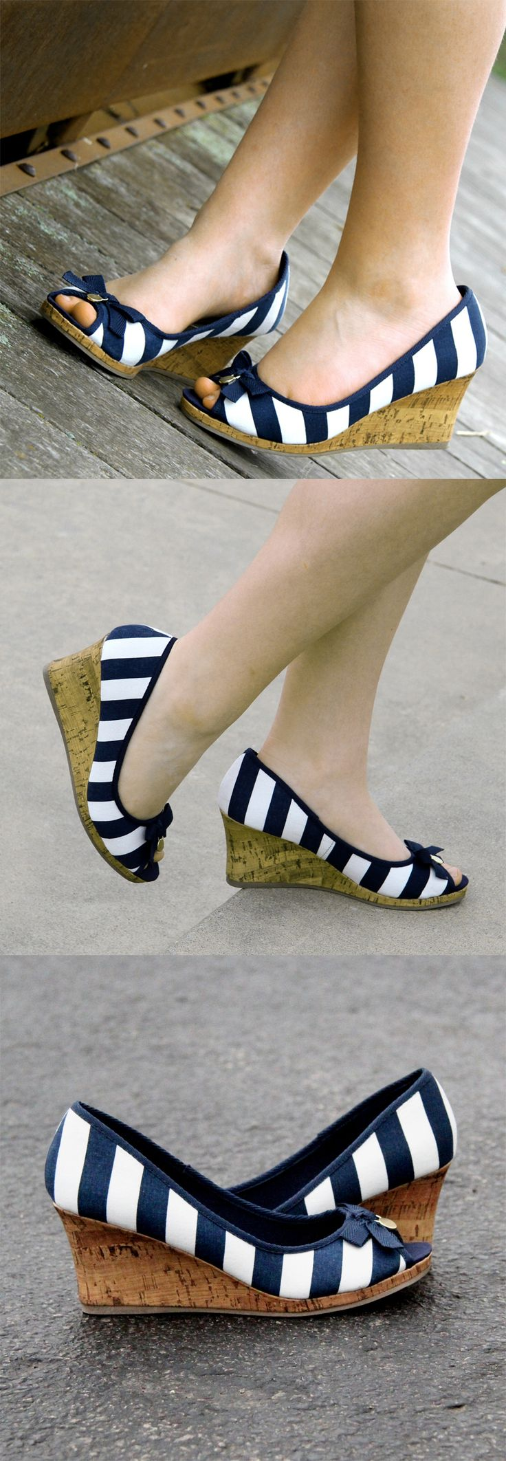 Navy and White-Striped Jenna Bow Wedge | Payless ShoeSource