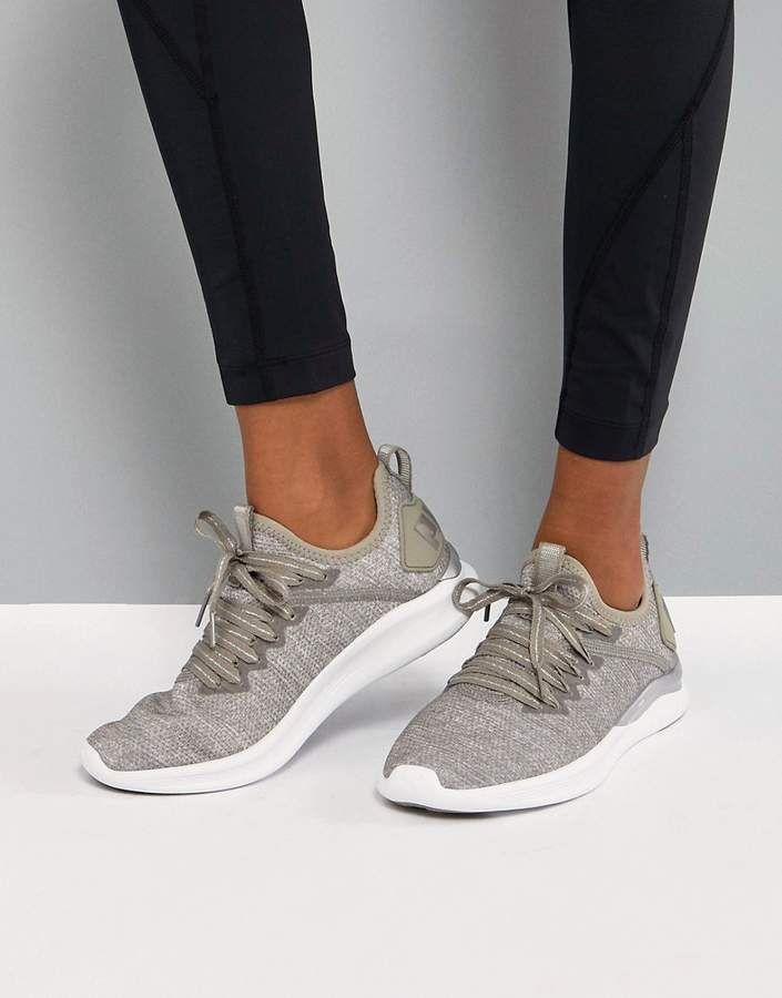 Puma Running Ignite Flash EvoKnit Sneakers In sTONE