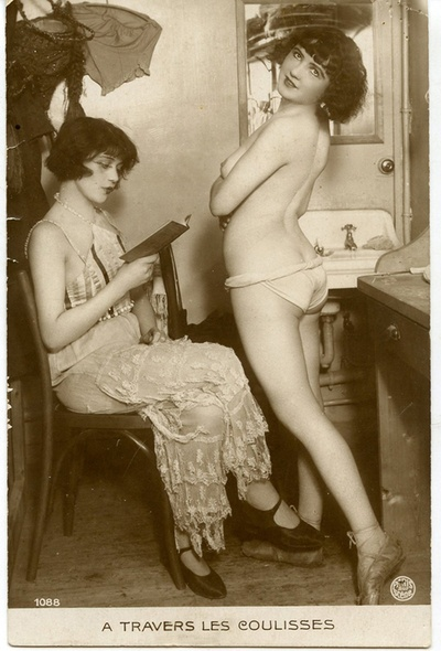 maudelynn: Vintage French Risque Postcard of Dancers Backstage