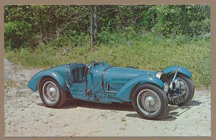 1936 Bugatti Type 59 Grand Prix Racer car auto postcard