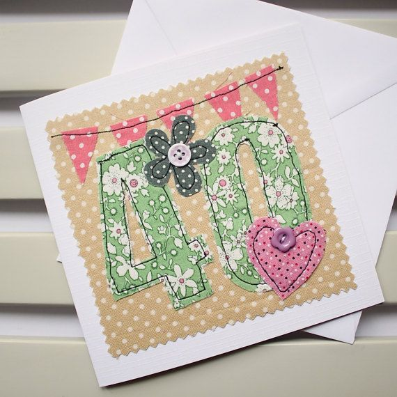 40th Birthday Card  Machine Embroidered  by PaperSoupCards on Etsy