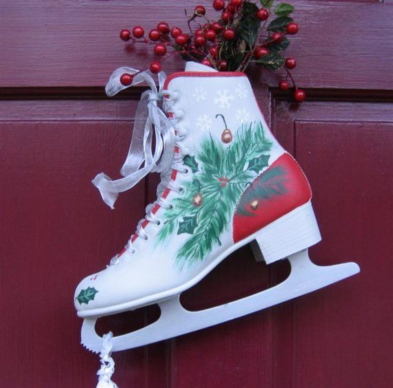 Holly and Evergreens Decorative Painted Ice Skates for Holiday Ornament\/\/RESERVED FOR NANCY