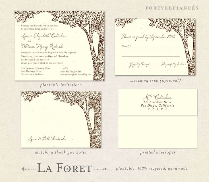 La Foret (eco, Plantable). Tree Wedding InvitationsHomecoming ...