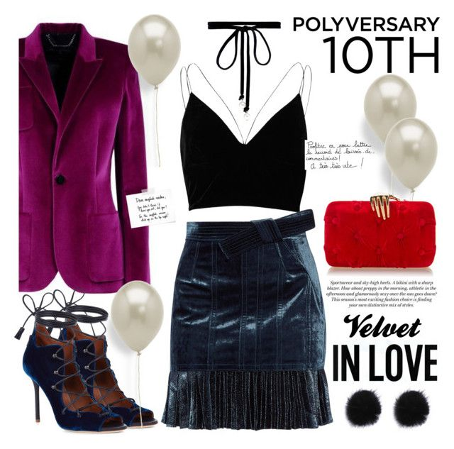"""Celebrate Our 10th Polyversary!"" by bklana ❤ liked on Polyvore featuring River Island, Joomi Lim, Malone Souliers, 3.1 Phillip Lim, MELIN, Garance Doré, H&M, Benedetta Bruzziches, velvet and polyversary"