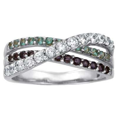 Sterling Silver Simulated Birthstone Shimmer Wrap Band by ArtCarved® (3 Stones) - Zales