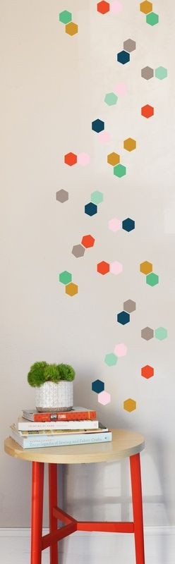 Tiny Honey Comb Wall Decal Set - would want the mustard, pink and mint color scheme