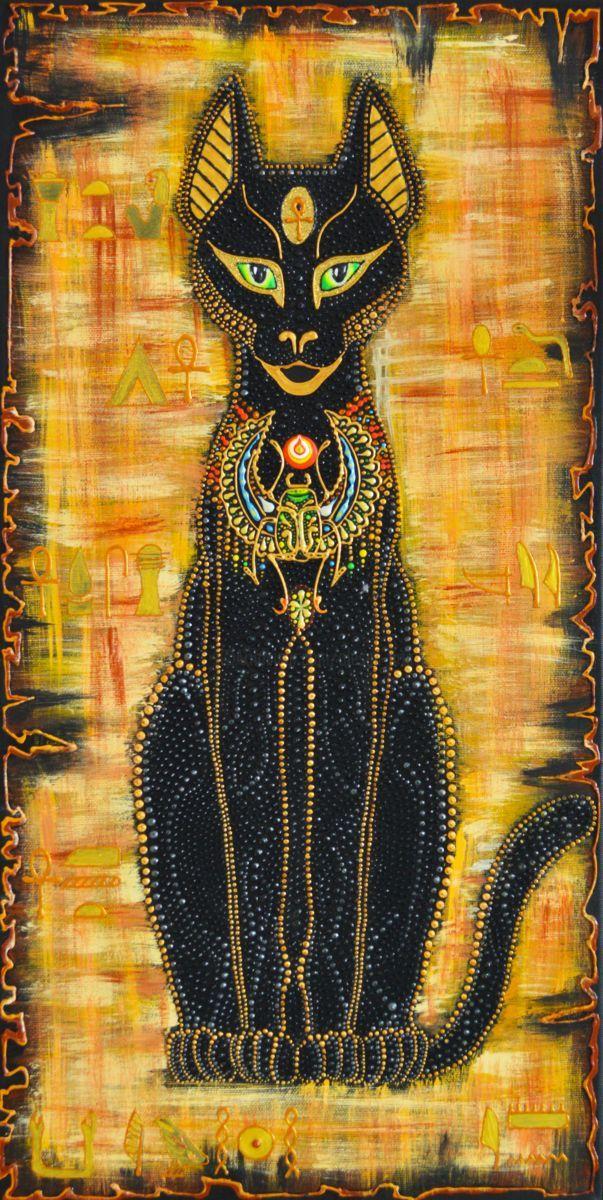 ägyptische Katzengöttin Bastet Dot Painting Gemälde