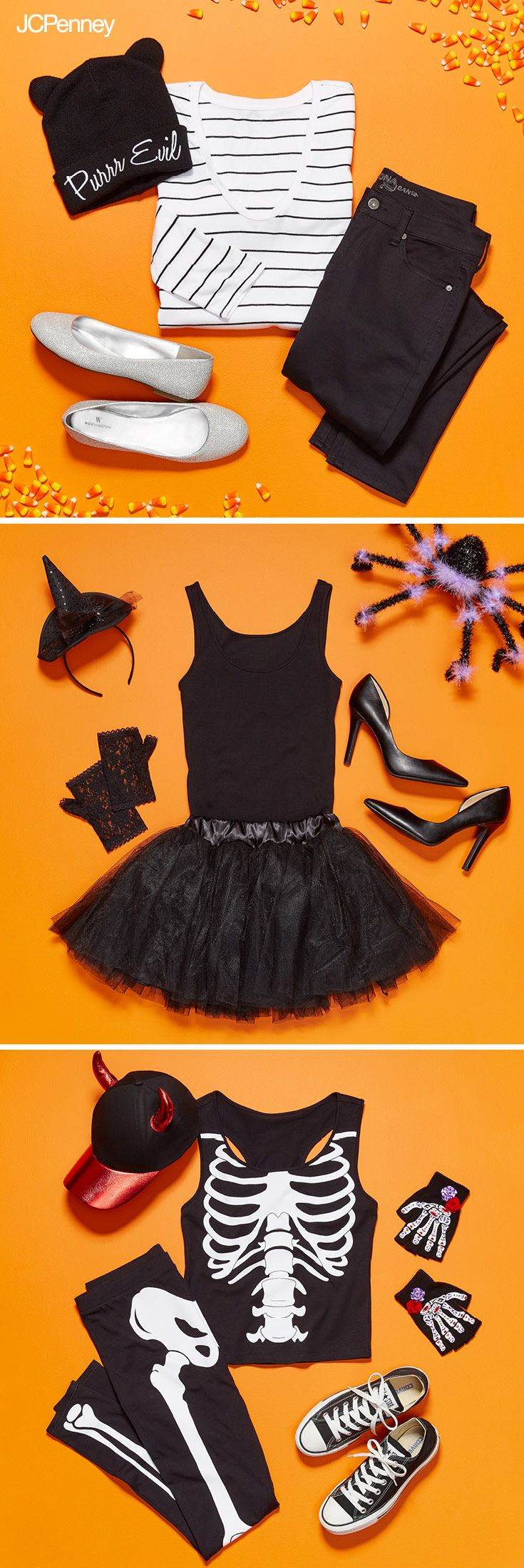 DIY Halloween costumes are so fun and easy to create. Start with black skinny jeans and add a stripe shirt then add Halloween accessories like cat ears for cat tail and you're ready to trick or treat with the kids right meow. Or go for a more dressed up DIY Halloween costume idea with a black skirt and top and just add a witches hat and lace gloves for a simple witch costume. Really get into the Halloween spirit with a skeleton costume using all black and white clothes or check out JCPenney.