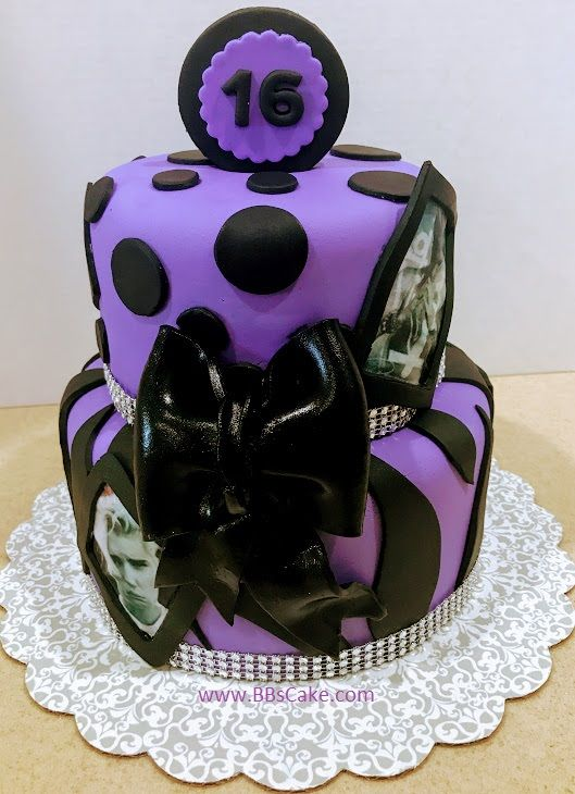 2 Tier Sweet 16 Purple And Black Birthday Cake
