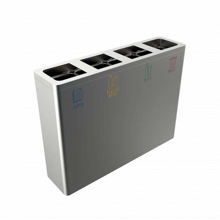 BERNINA SST- Modern design recycling bin station in stainless steel