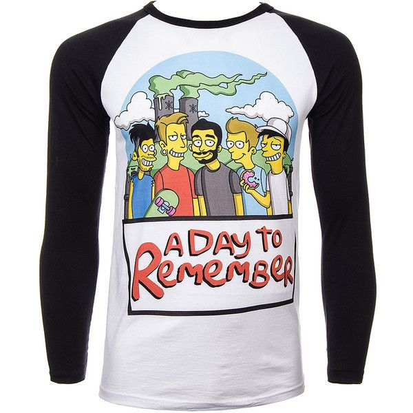 Official A Day To Remember Simpsons Baseball Tee (Multicoloured) (33 AUD) ❤ liked on Polyvore featuring tops, t-shirts, baseball tee shirts, multi colored t shirts, baseball t shirt, multi color tops and multi color t shirts