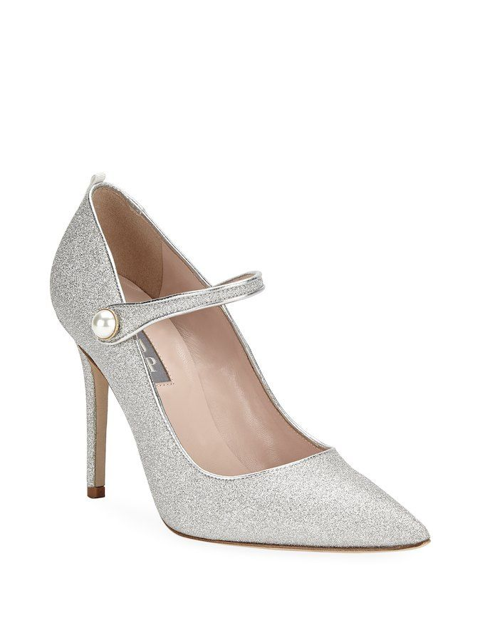 5692ca20f48 SJP by Sarah Jessica Parker Wellington Metallic Front-Strap Pump Allover  sparkle pumps adorned with pearl buckle detail - pearl embellished silver  glitter ...