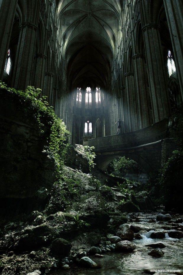 L'église Saint-Etienne-le-Vieux à Caen (France) grandement détruite lors des…