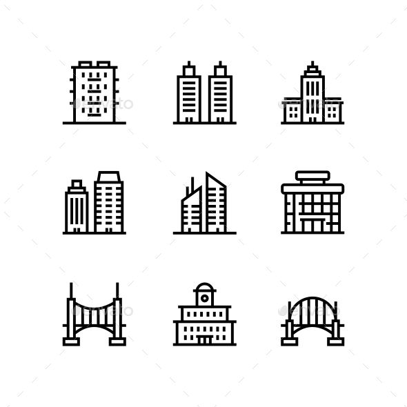 Building and house line icons pack for app mobile or web design. Fully resizable…