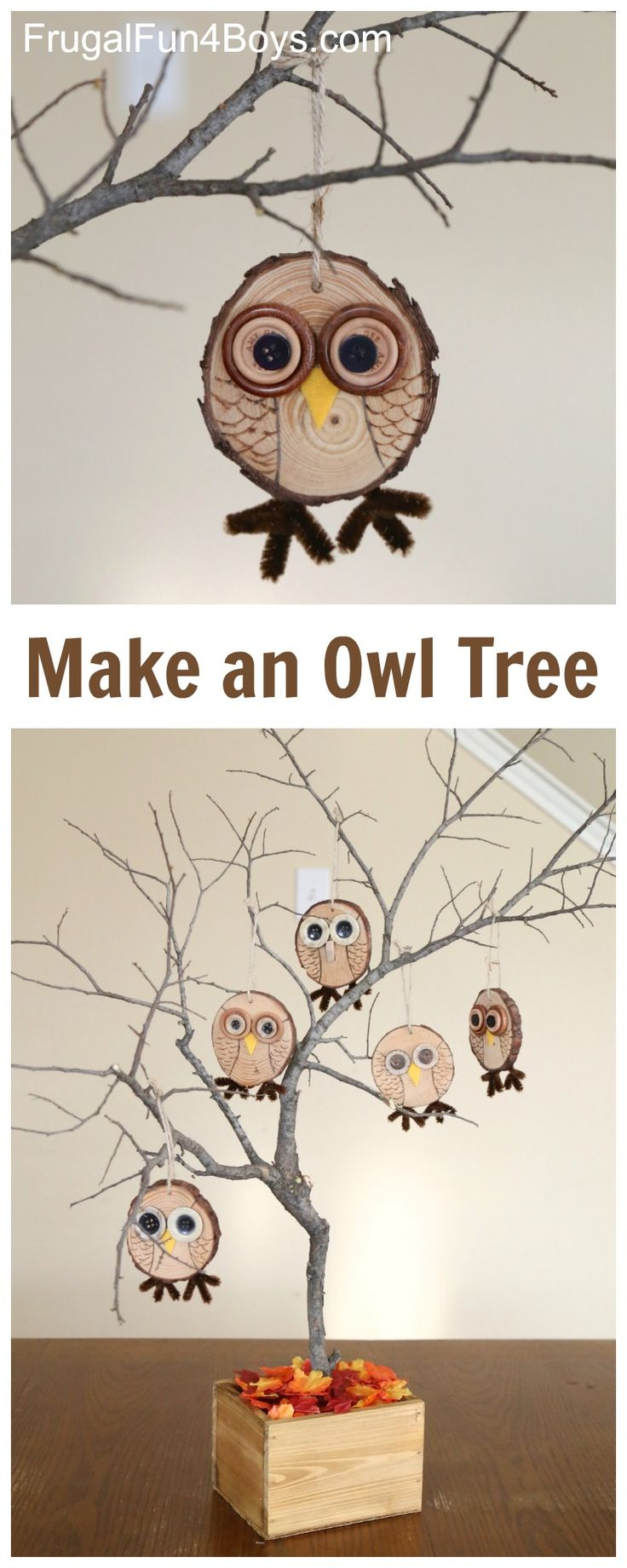 Owl Craft - How to make adorable wood slice owl ornaments.  Love the tree idea!  Fall decor that kids can help make.