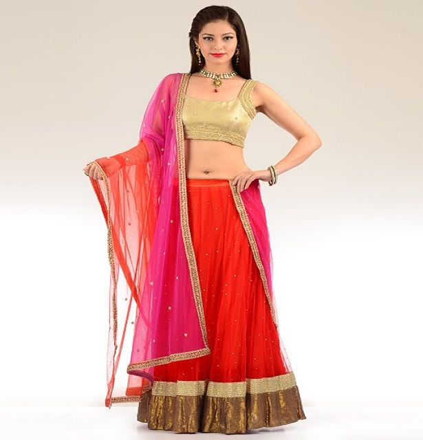 ‪#‎Colorful‬ ‪#‎Designer‬ ‪#‎Lehnga‬ With Fabric Net,shifon,jama lace Work,  Shop Now➤ http://www.fashion4style.com/woman/clothing/designer-lehnga/colourful-designer-lehnga/pid=MjUx