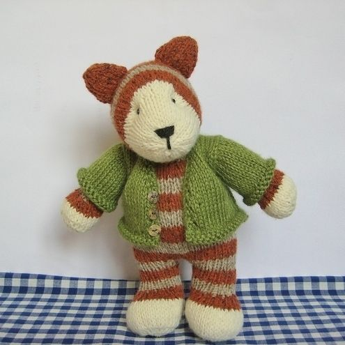 Tabby Cat knitted toy with cardigan, fluff and fuzz knitting pattern pdf £3.00
