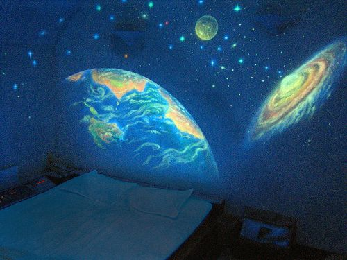 Glow in the dark paint makes a wicked cool solar system/ planets wall mural, cool alternative to a night light?