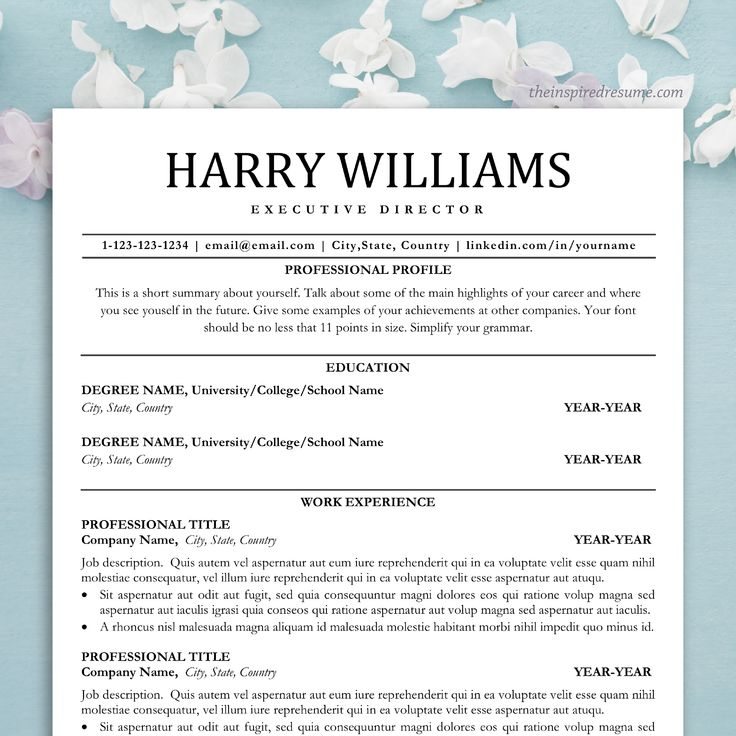 cv template for word  u0026 pages  professional resume instant