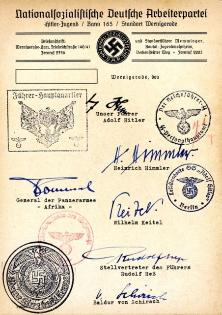best nazis the third reich images wwii a hitler youth document from wer ode purportedly bearing the signatures of