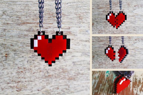 Pixel Heart Zelda Acrylic Plastic Pendent necklace for couple and gamer 8 bits design for couple and gamer
