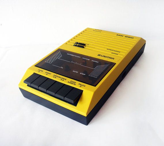 Yellow and Black vintage Unitra Cassette Tape Recording Player in Working order - Vintage European Player made in Poland