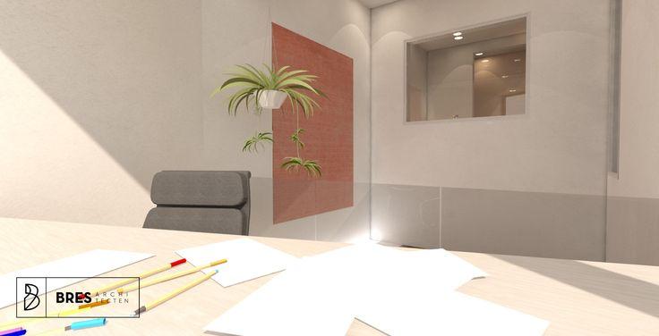 bureauruimte in relatie met de badkamer