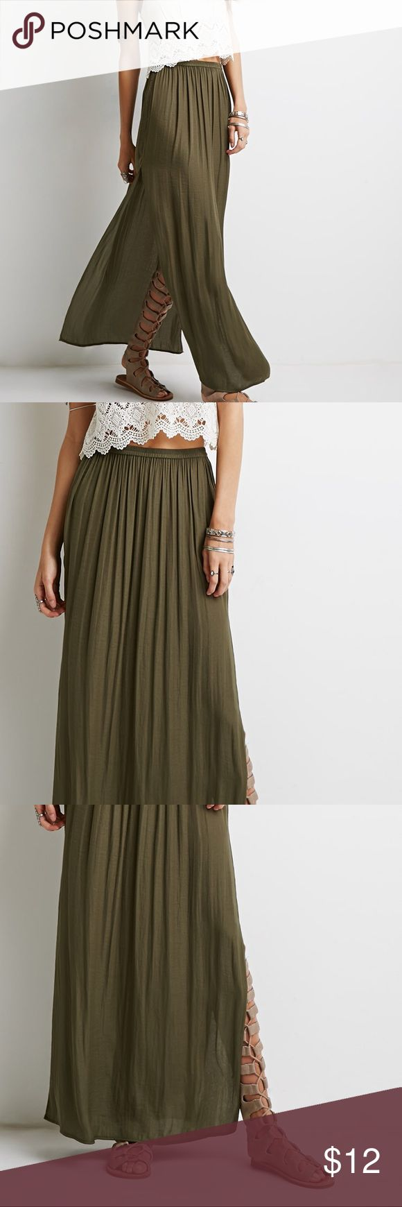 Olive maxi skirt Beautiful maxi skirt from Forever21. Has a high skit on each side of the skirt and an elastic waist. Nice flowy material with a bit of shine to it. Only worn a couple of times. Perfect summer skirt! Forever 21 Skirts