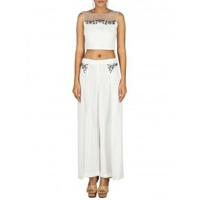 White crop top and palazzo set. Shop Now http://bit.ly/1JHpp9F