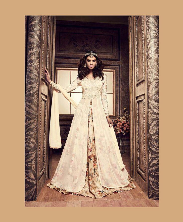 Off White Banarasi Silk Indo Western Lehenga Choli 78028