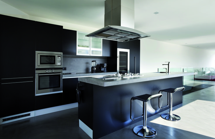Küche, grau schwarz