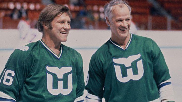 Bobby Hull and Gordie Howe, Hartford Whalers, 1980