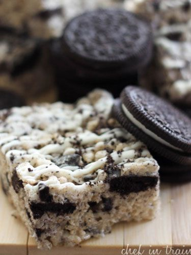 Chopped Oreos add a cookies-and-cream twist to this rice krispies recipe.