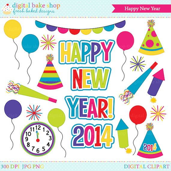 Happy New Year! This clipart set is perfect for your New Years projects and crafts. This set includes decorative wording: Happy, New, Year, 2014