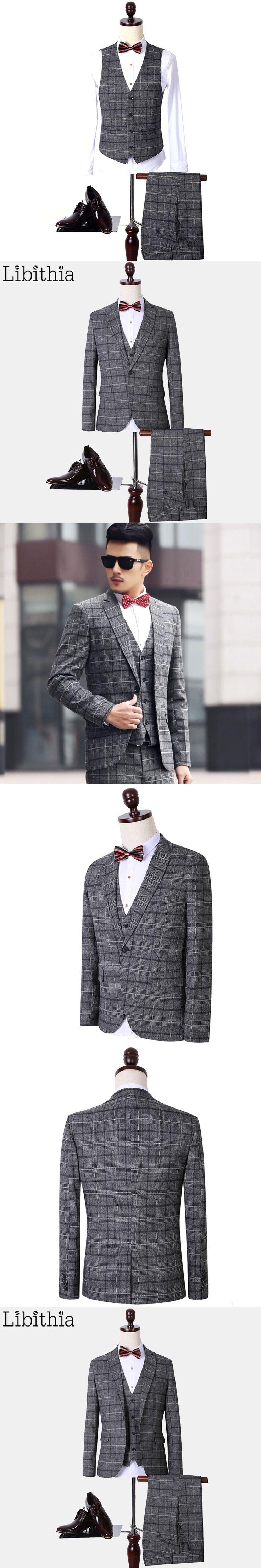 (Jacket+Pant+Vest) Suits Men Plaid Fashion Brand Formal Blazer Slim Fit One Buttons Costume Homme Wedding Dress Plus Size S147