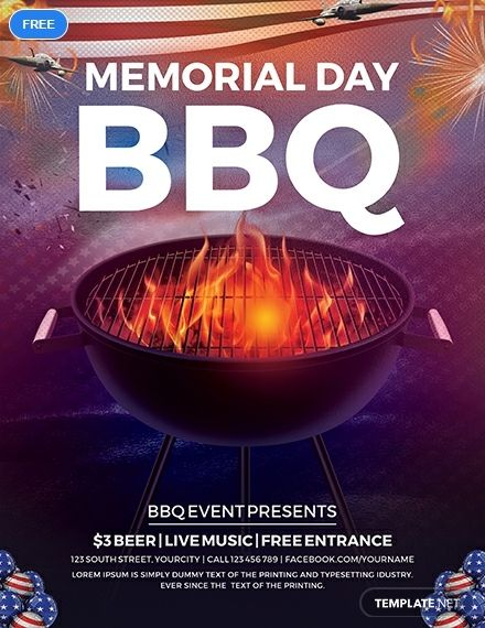 Free Memorial Day Bbq Flyer Holiday Flyer Templates Flyer