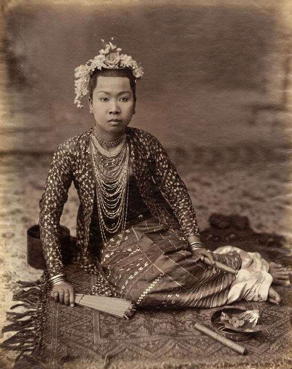 P. A. Klier (attributed to) - Burmese Woman with Fan and Cigar