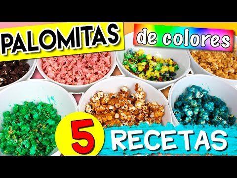 Cómo hacer PALOMITAS DE COLORES * 5 RECETAS de palomitas dulces - YouTube