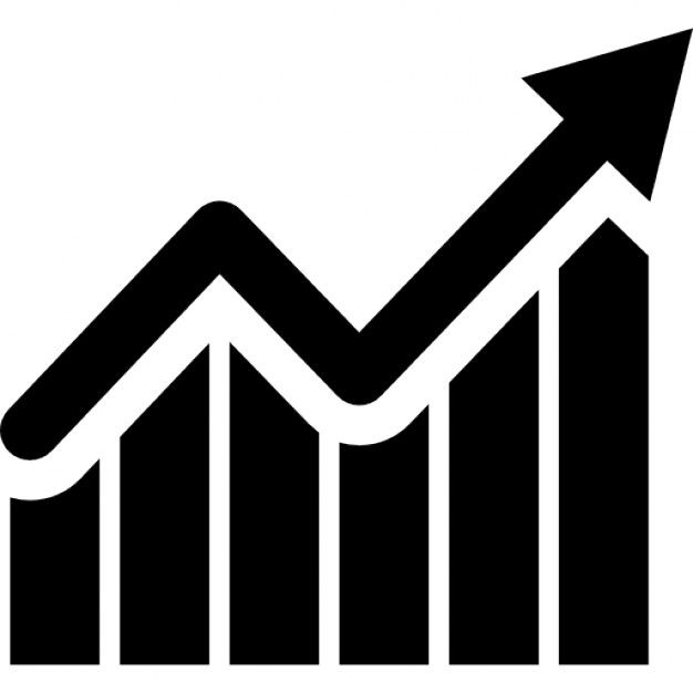 Bars graphic with ascendant arrow Free Icon