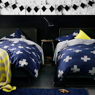 Love this! Crosses in Marine by Aura #bedding #blue #cross