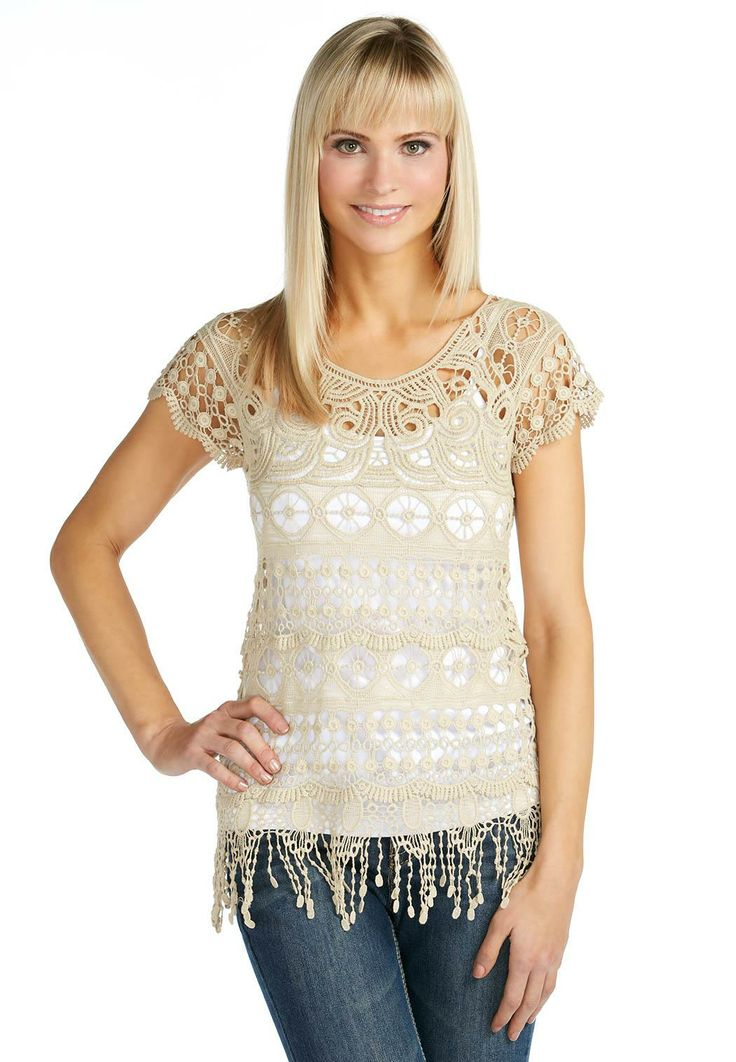 Fringed Crochet Top Shirts & Blouses Cato Fashions