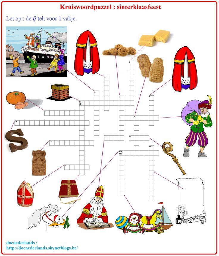 Kruiswoordpuzzel : sinterklaasfeest / Mots croisés : fête de la Saint-Nicolas + OPLOSSINGEN : http://docnederlands.skynetblogs.be/archive/2015/11/06/dossier-de-goede-sint-04-mots-croises-kruiswoordpuzzel-sinte-8524543.html