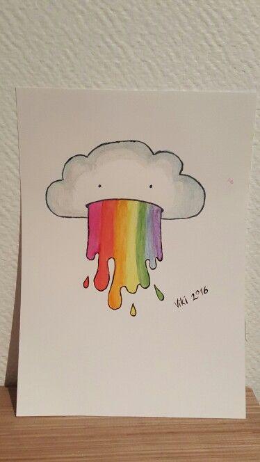"""Akvarellmålning - """"Regnbågsmoln"""""""