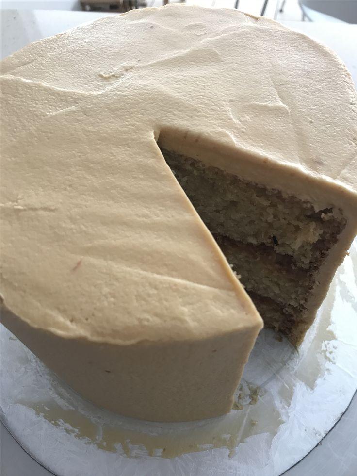 Caramel cake with caramel Swiss meringue