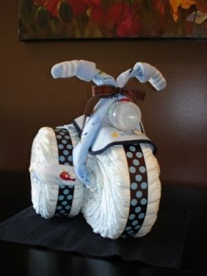 Diaper Motorcycle Tutorial on Sweetaprils , little ones, baby, kiddo, baby shower, diapers, diaper motorcycle, baby shower gifts, diaper bike