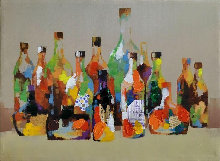 Bottiglie   Misure: 60x80  Hand painted prints