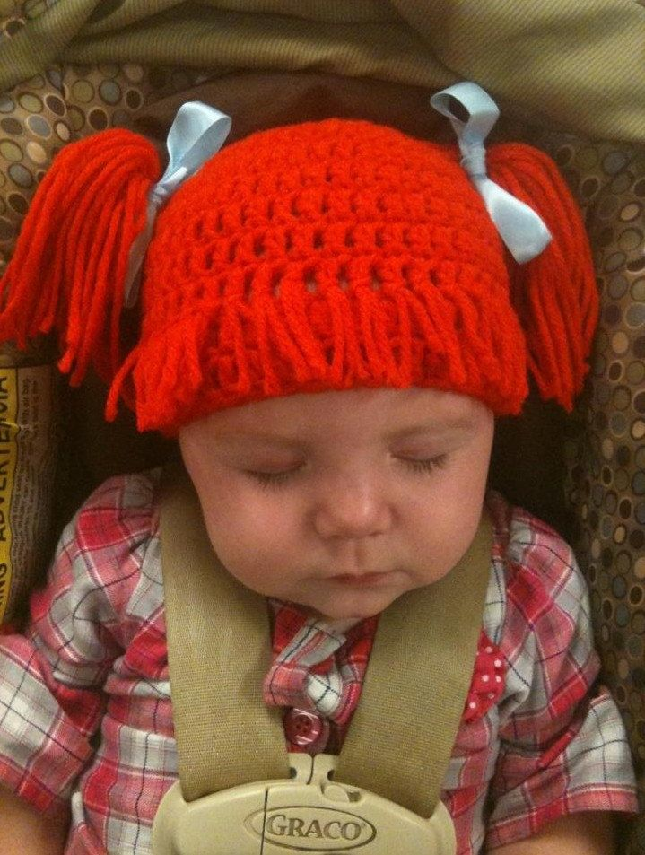Baby girl adorable Cabbage Patch crocheted hat complete with hair/wig and pigtails.